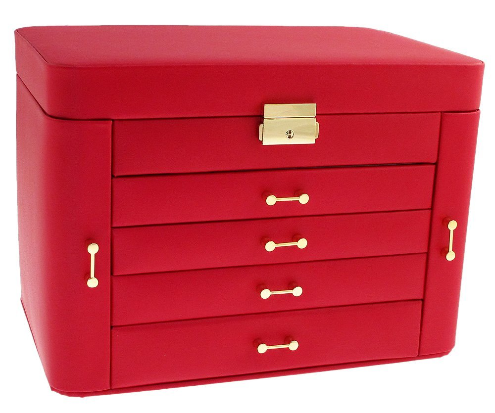 Mele Extra Large Empress Jewellery Box In Bonded Leather Red